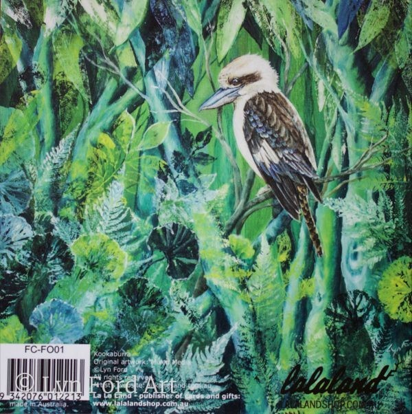 Kookaburra greeting card back
